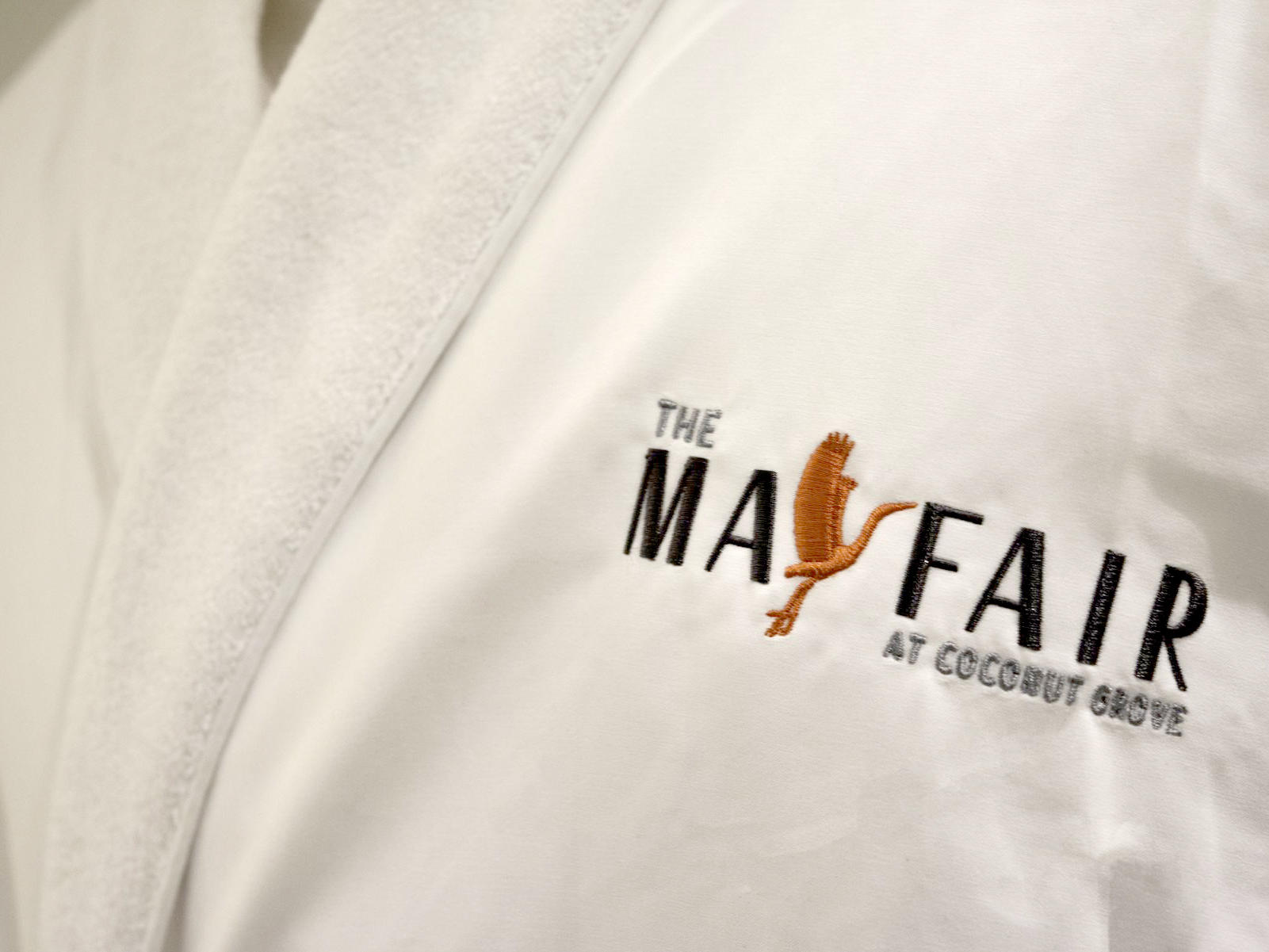 mayfair logo on robe