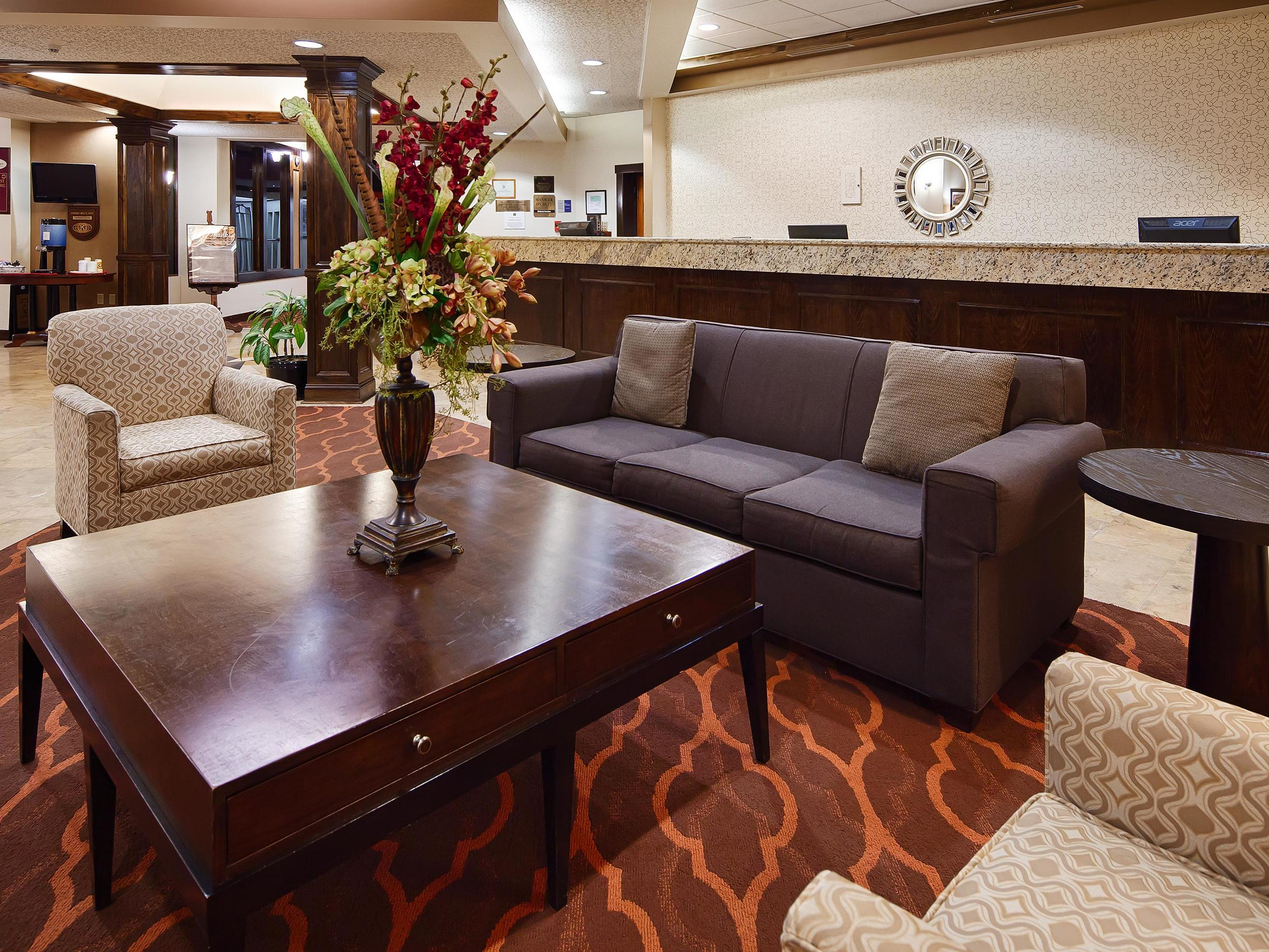 hotel lobby with lounge area