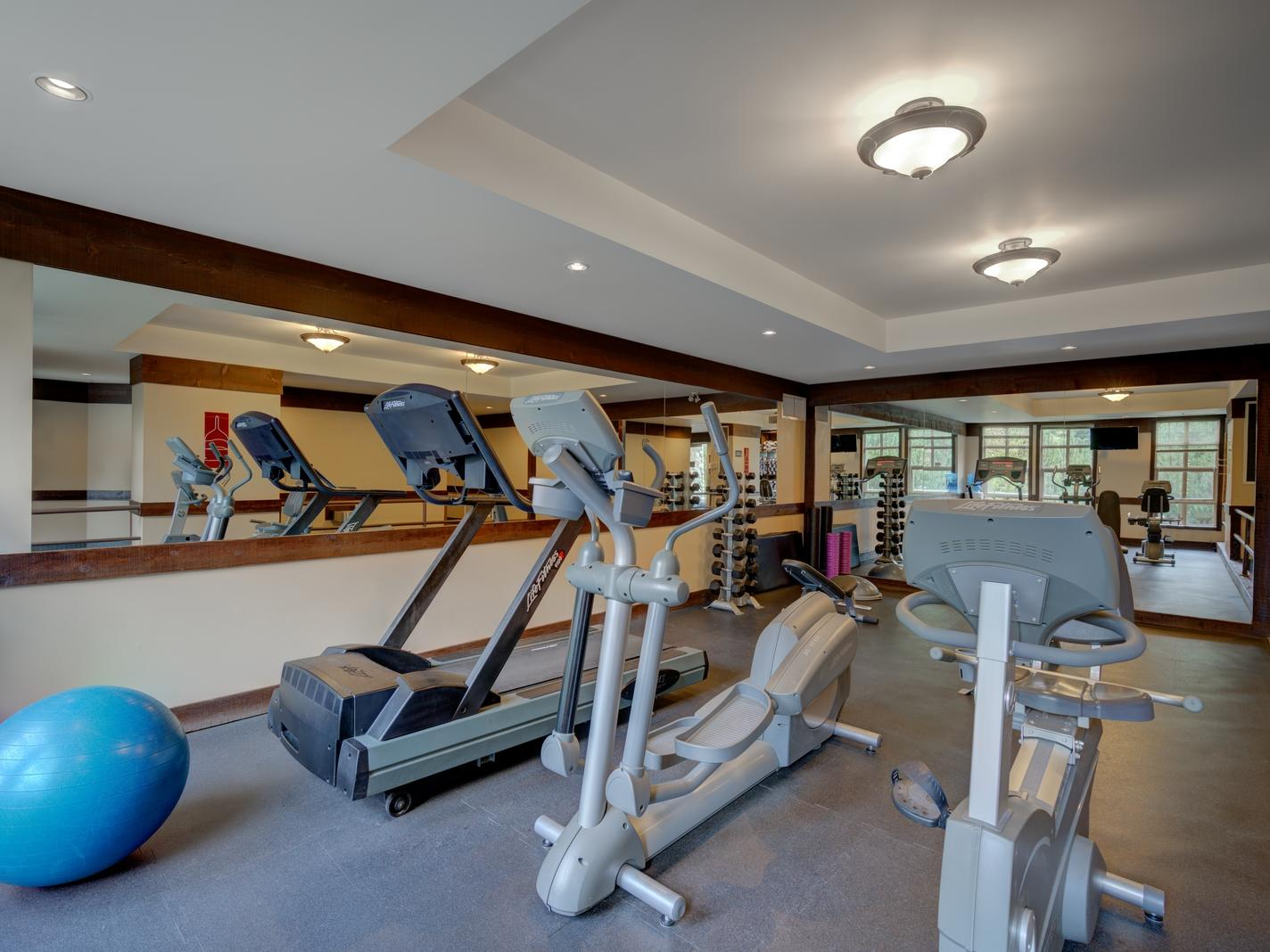 gym with treadmill, elliptical and cycle