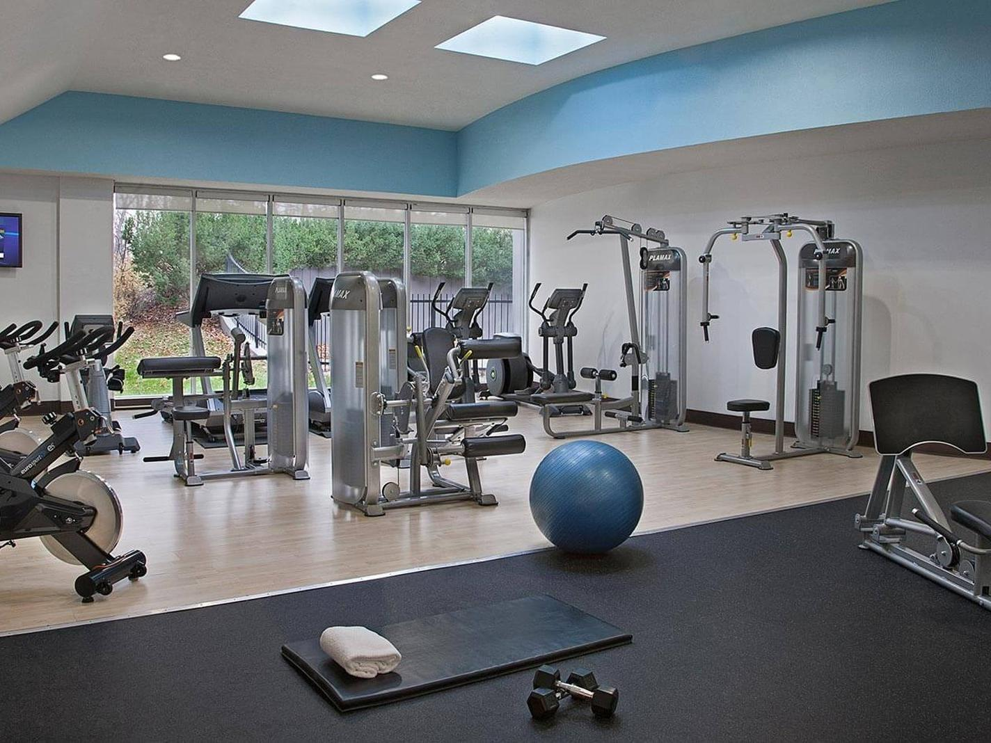 Workout equipment in hotel gym