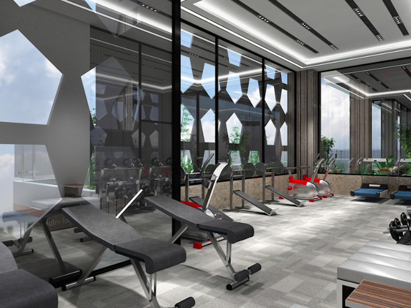 hotel gym facilities with adjustable gym workout bench