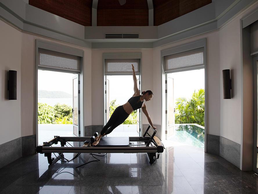 A female guest doing yoga