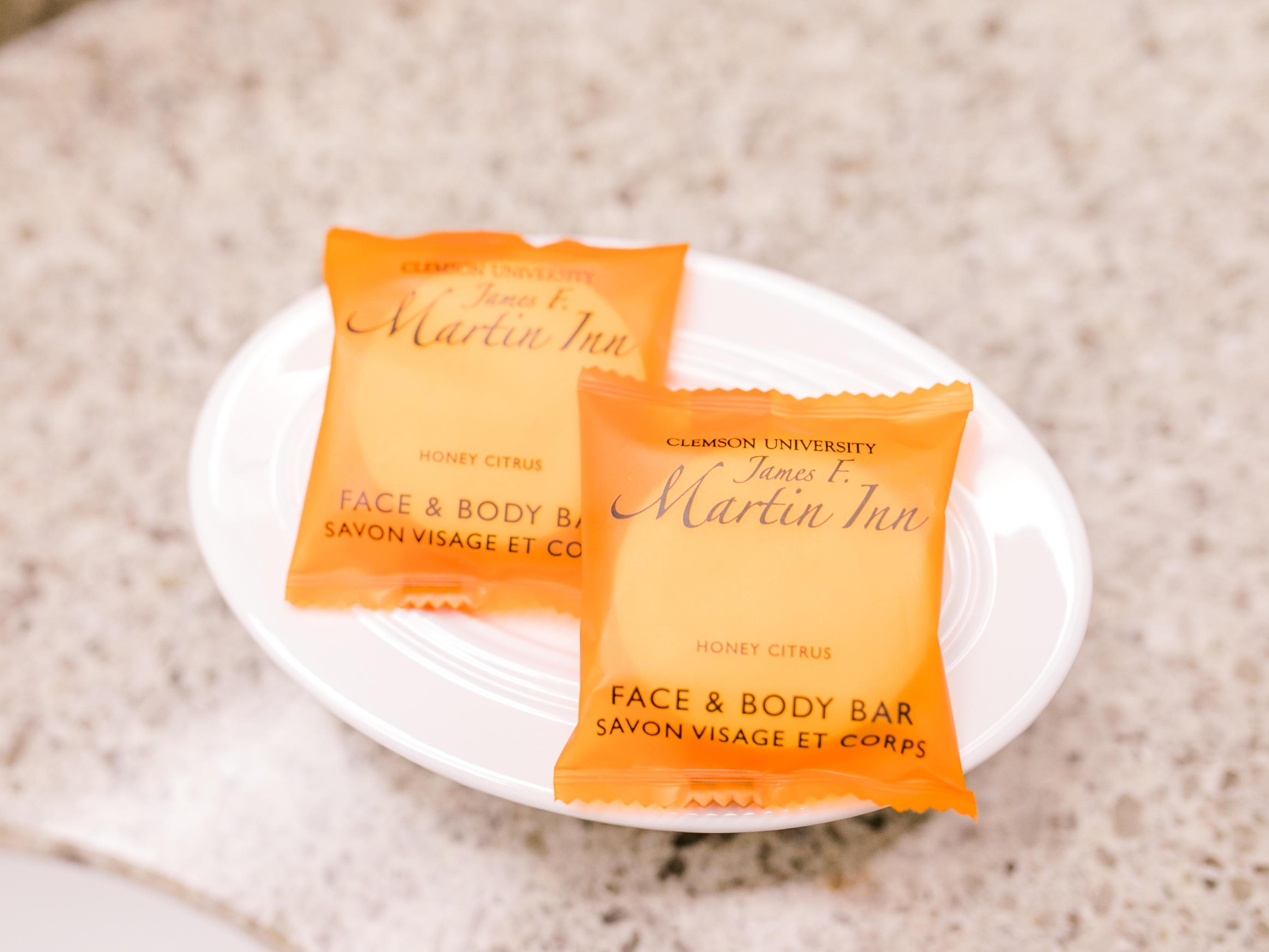 Face & body soap on bathroom counter top