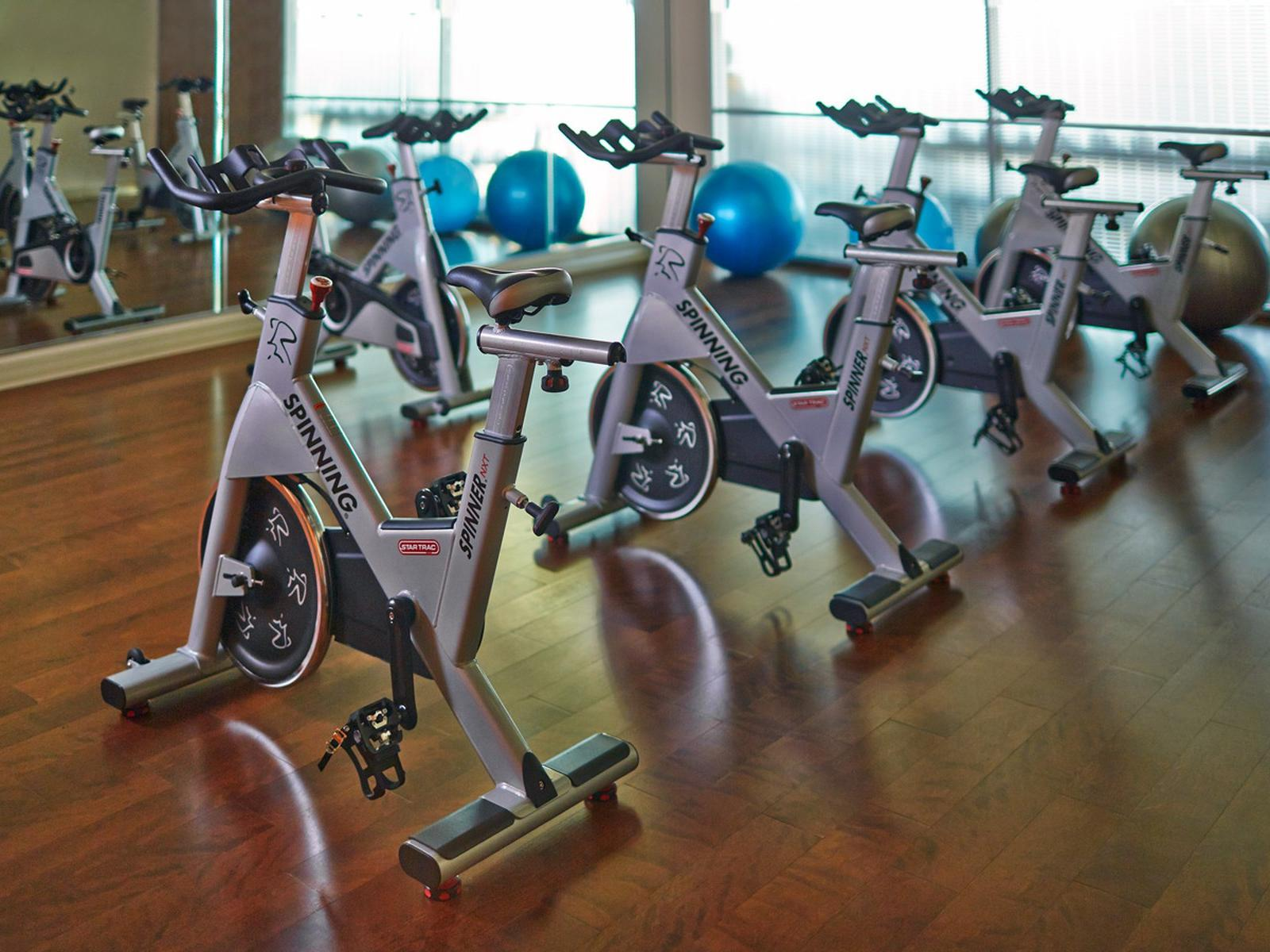 a row of stationary bikes