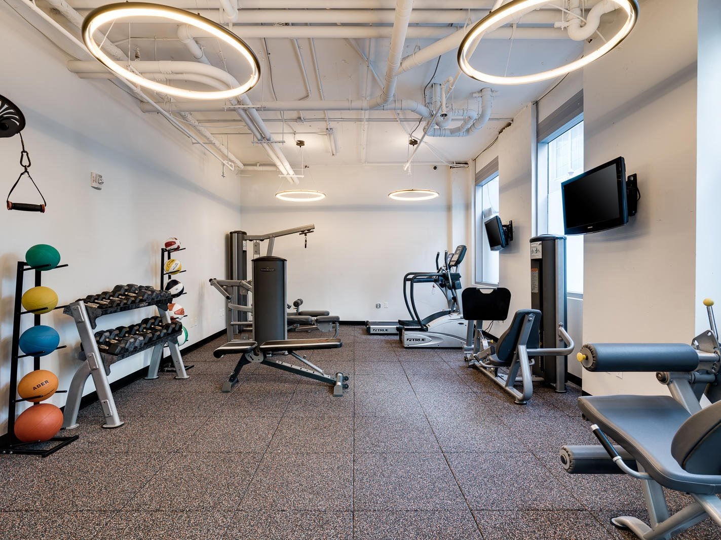fitness center with weights and exercise equipment