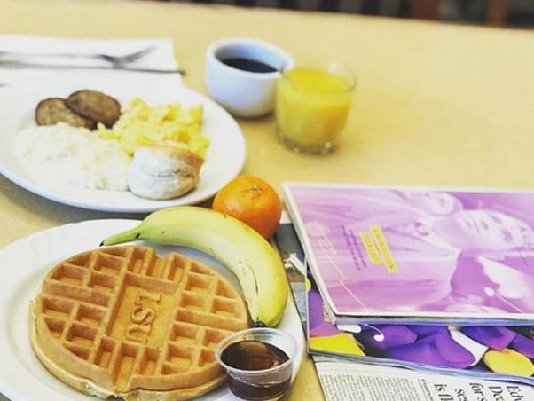Waffle, eggs, & more breakfast options from the buffet