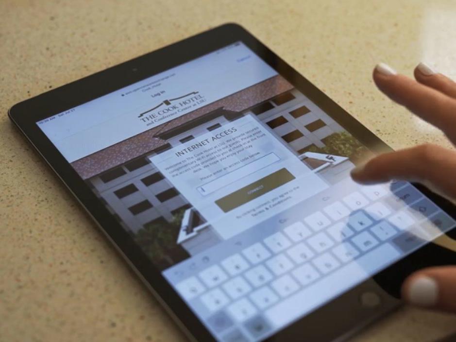 Hand logging into WiFi on iPad