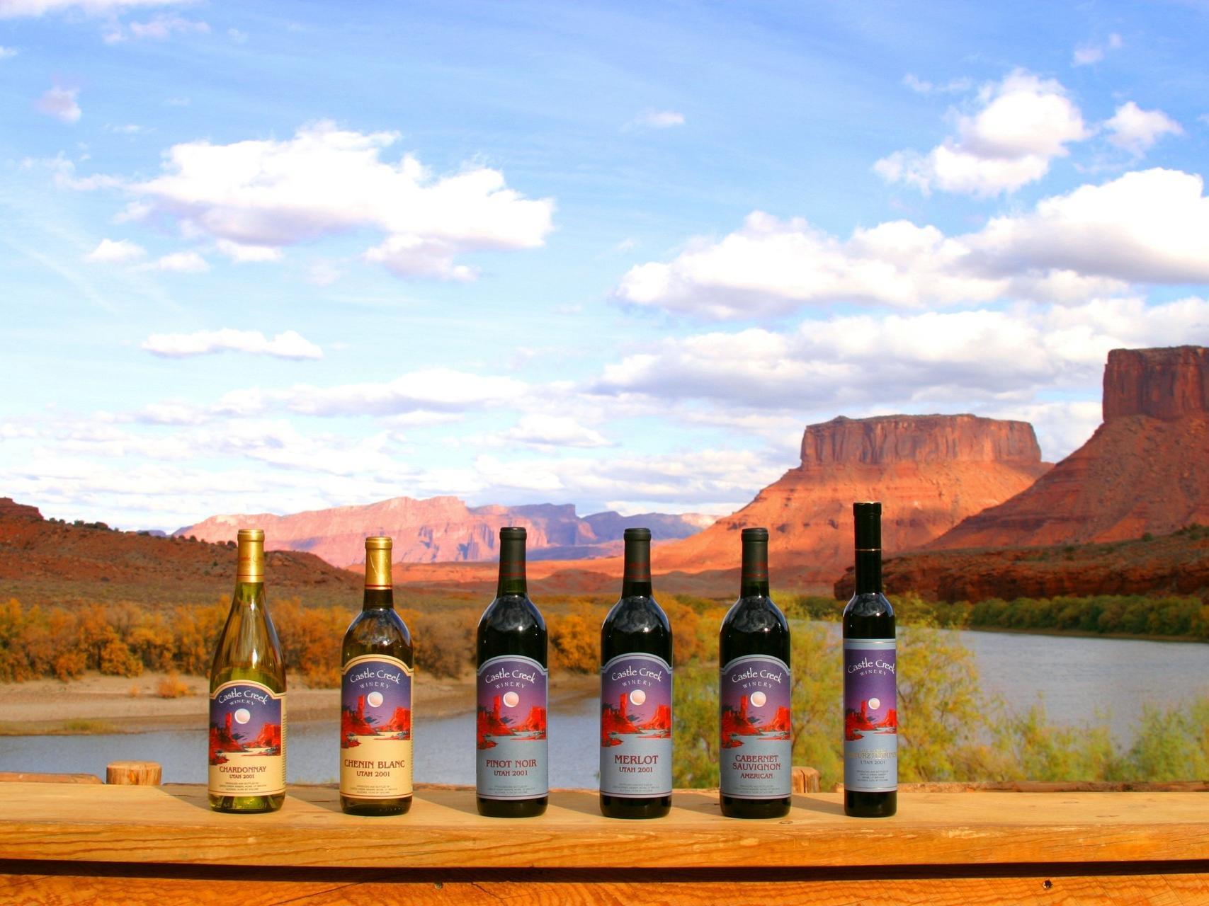 castle creek winery bottles on ledge