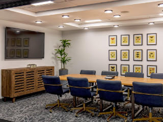 a conference table and chairs