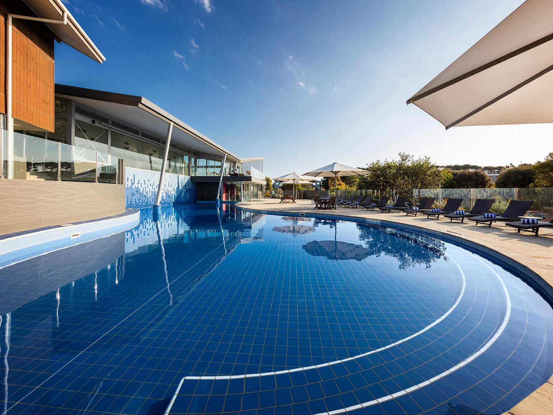 The solar-heated freeform outdoor pool at Silverwater Resort