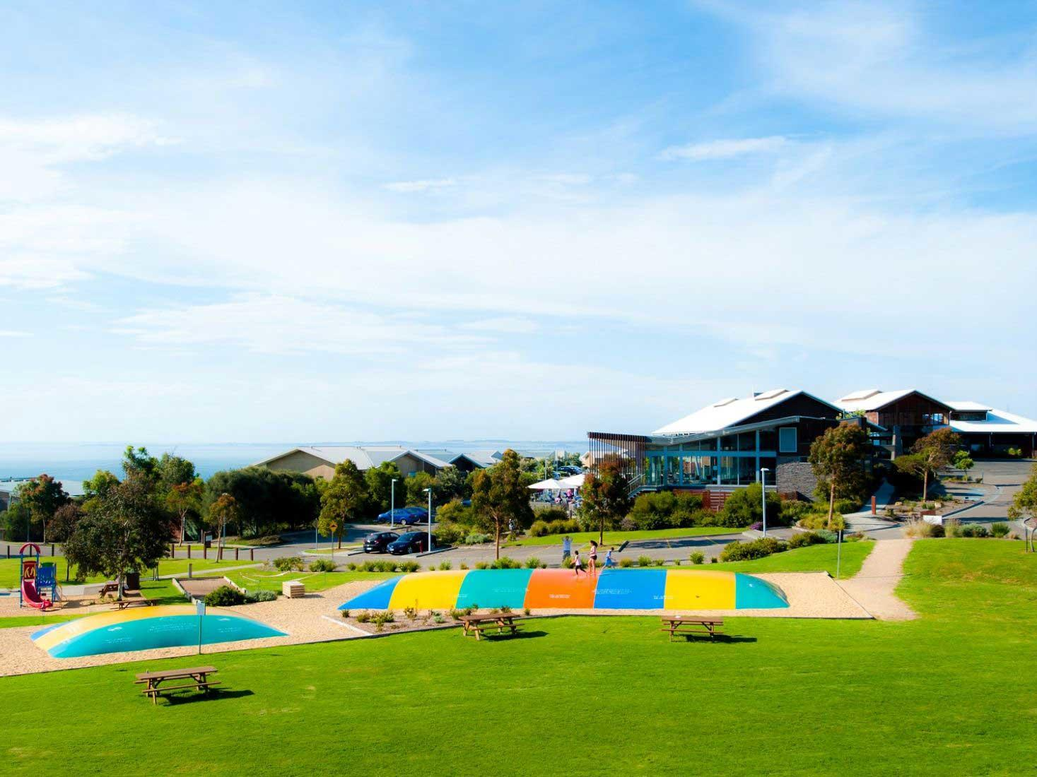 landscape view of  jumping pillows at Silverwater Resort