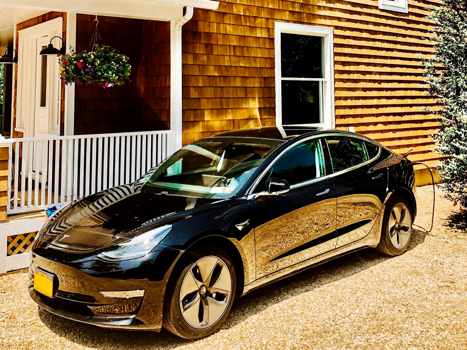 Tesla Charging Station Outside of Main House, The Roundtree, Amagansett, Hotel in Hamptons