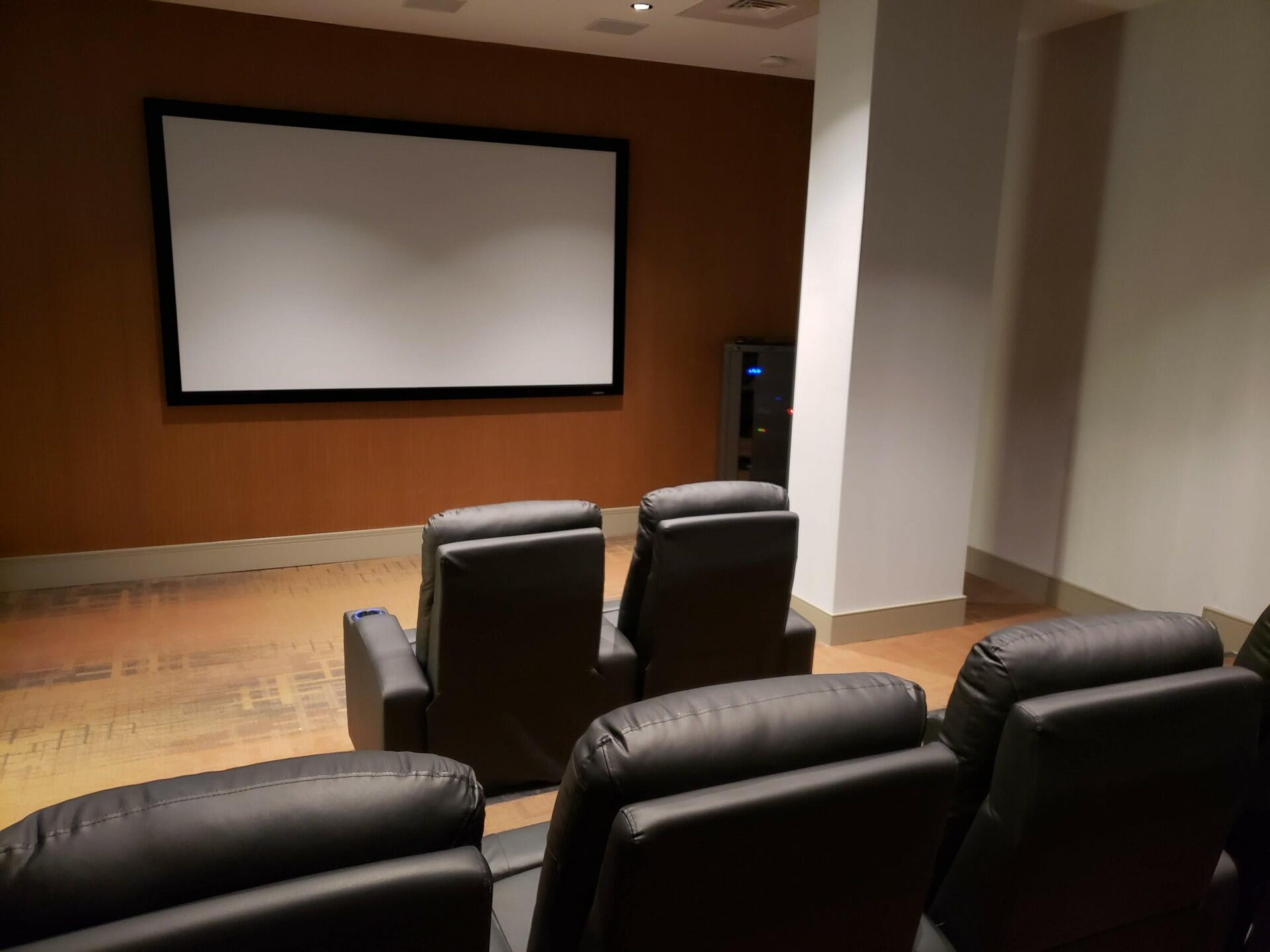 theater room with large projector screen