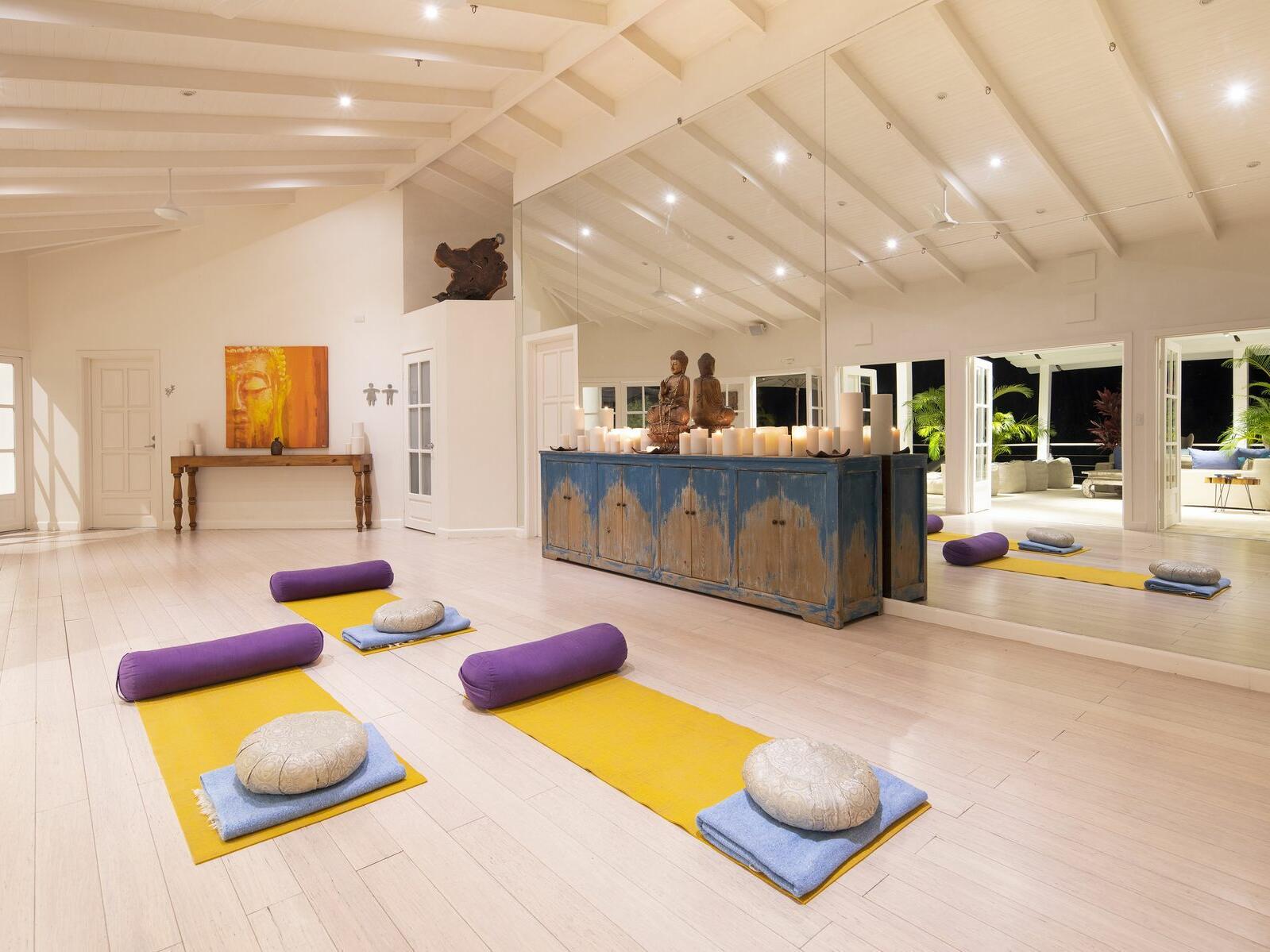 yoga studio with mats and pillows