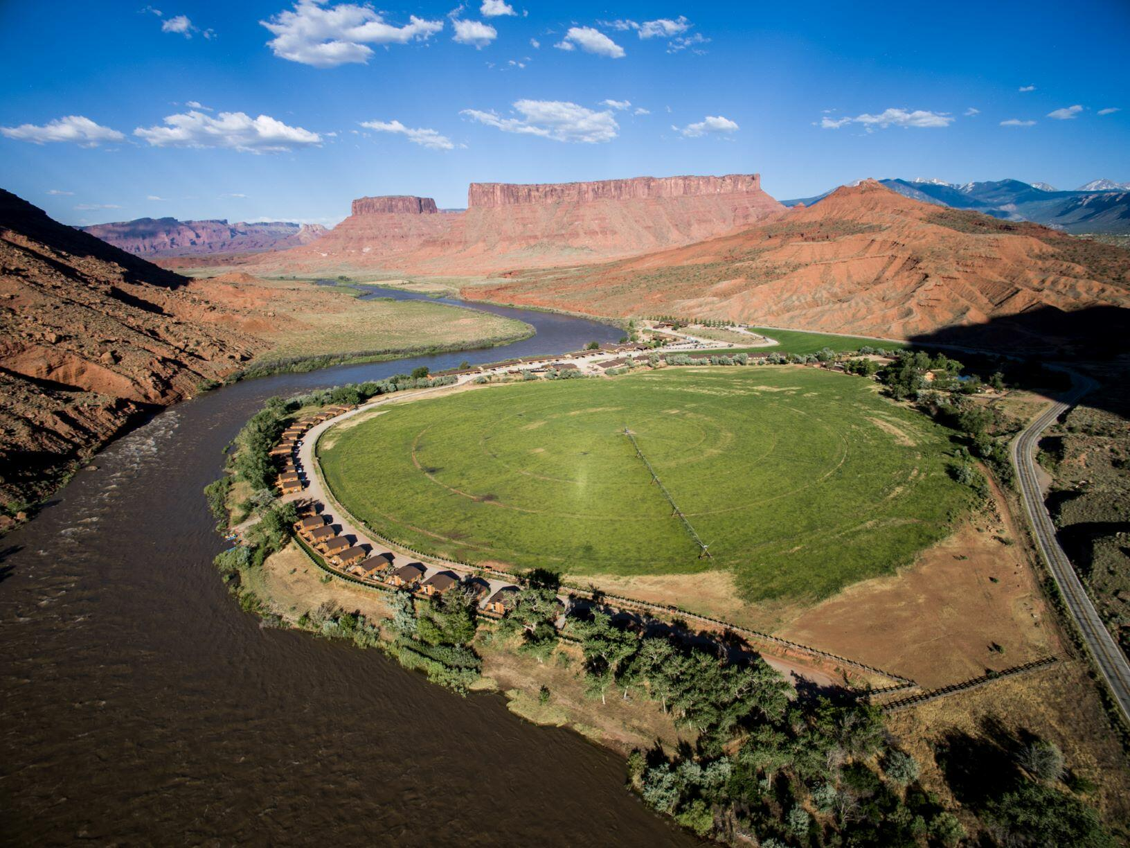 Red Cliffs Lodge with views of Colorado River, Cabin View from Highway 128