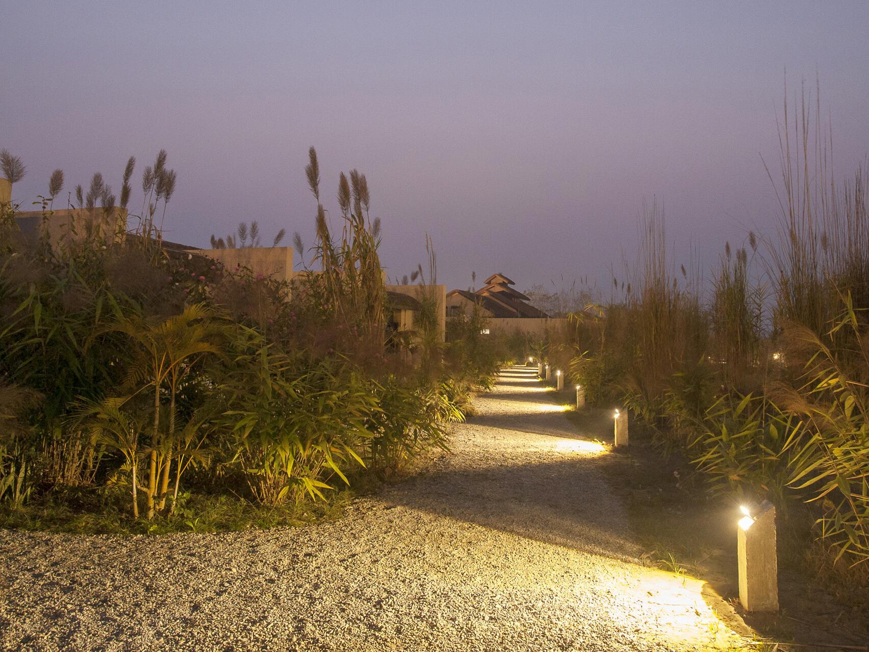 Lightning road  at evening of Meghauli Serai