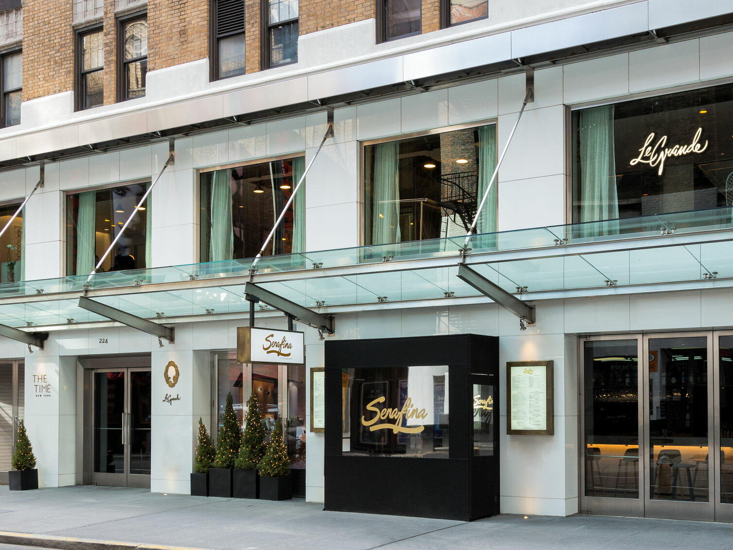 Exterior & roadside view of Serafina at The Time New York