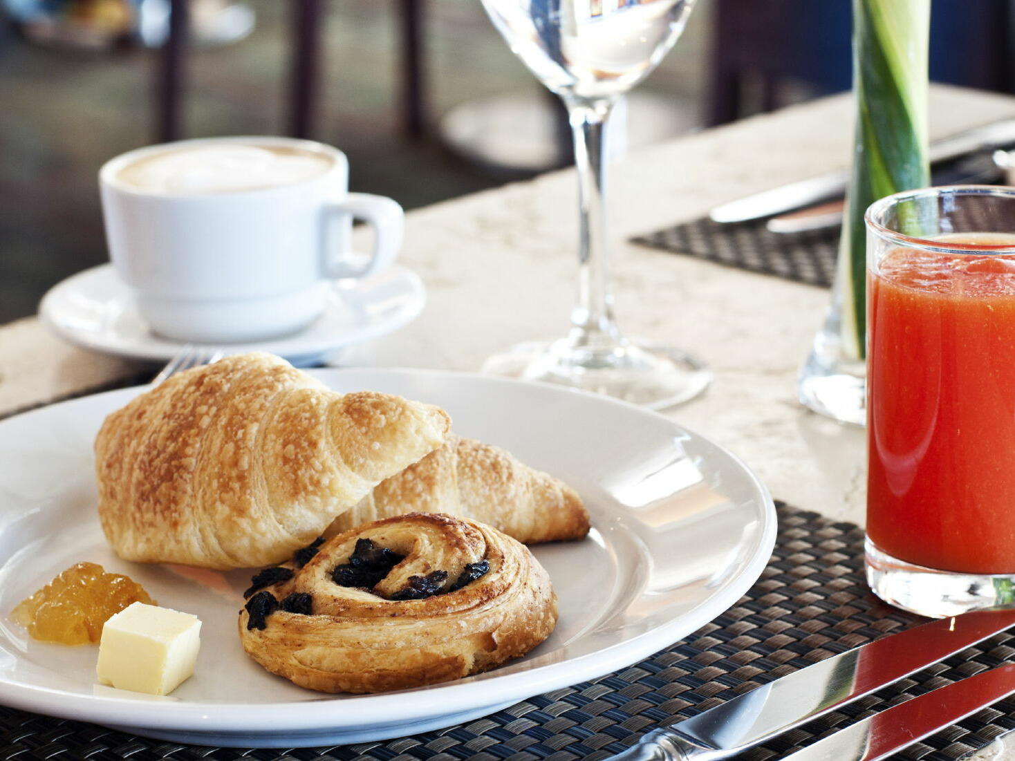 Croissant & pastries with juice served  in The Time New York