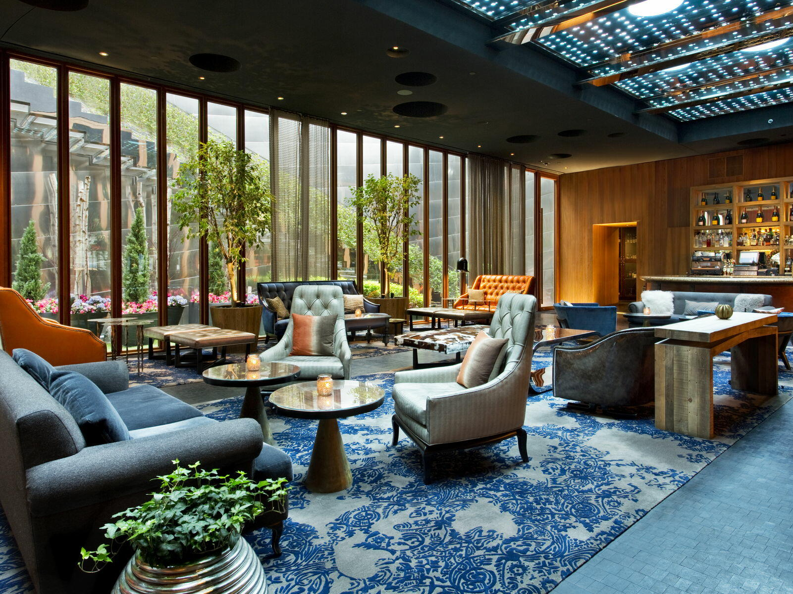 The lobby complemented with a bar at Dream Downtown New York