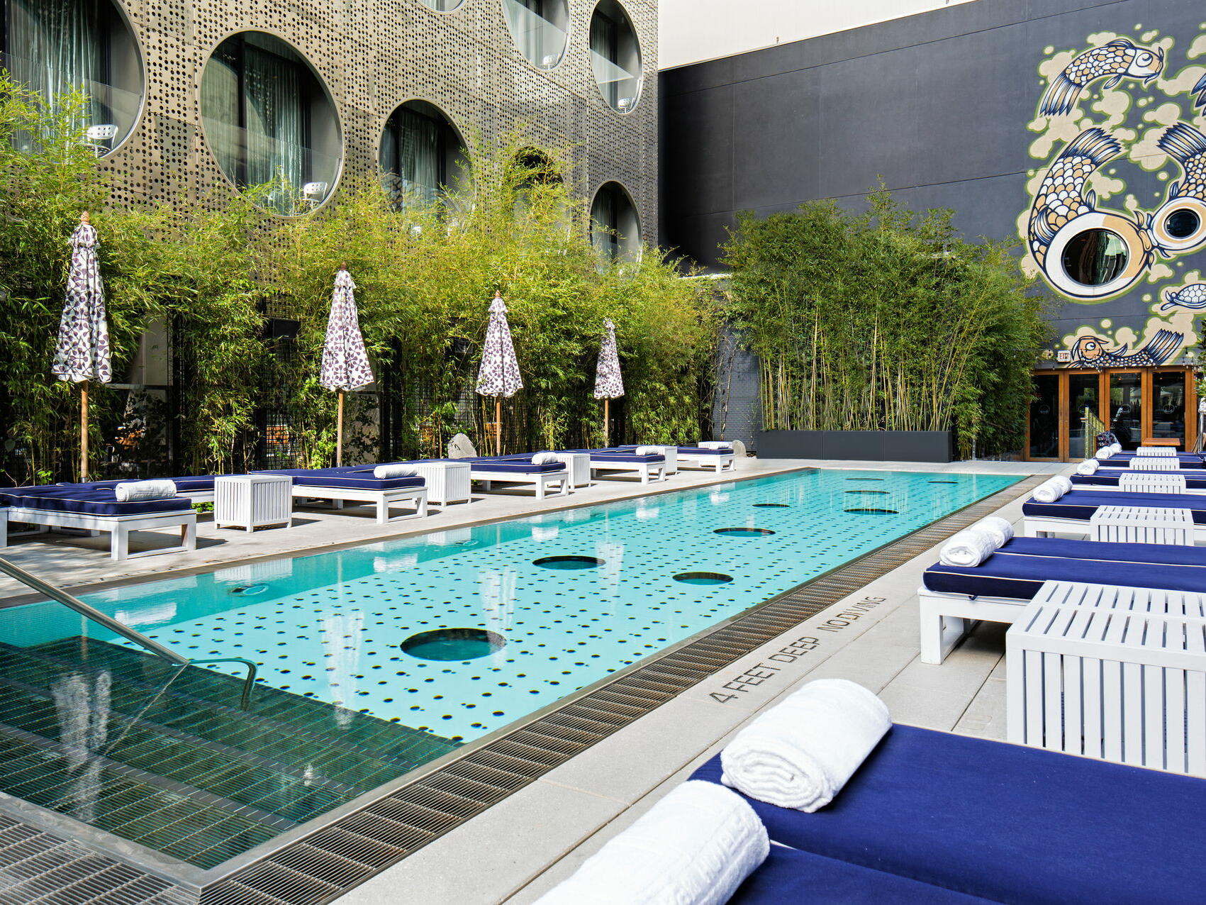 Dream Beach pool with sunbeds & cabanas at Dream Downtown NYC