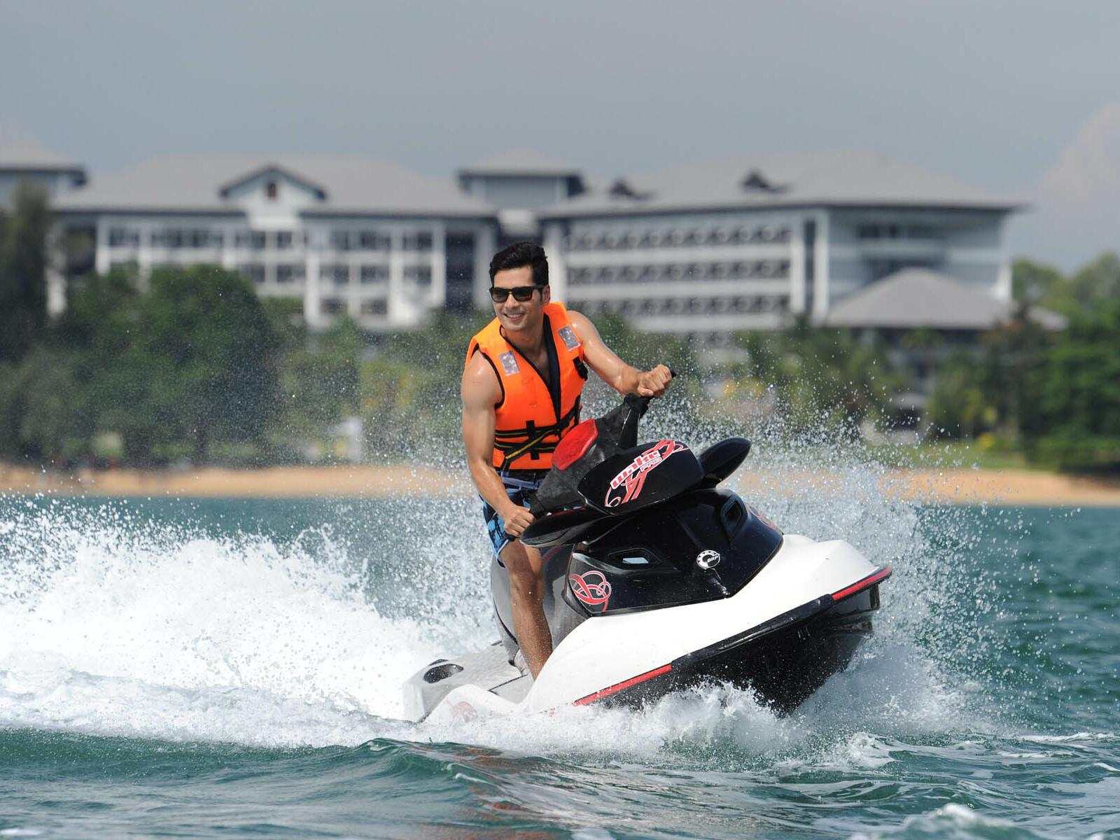 A man jet-skiing