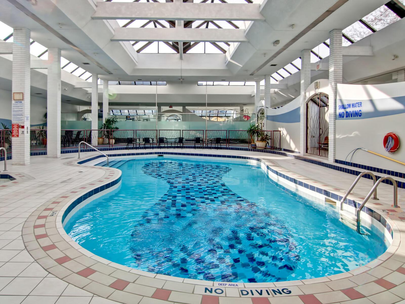 indoor crystal blue pool at The Inn of Waterloo