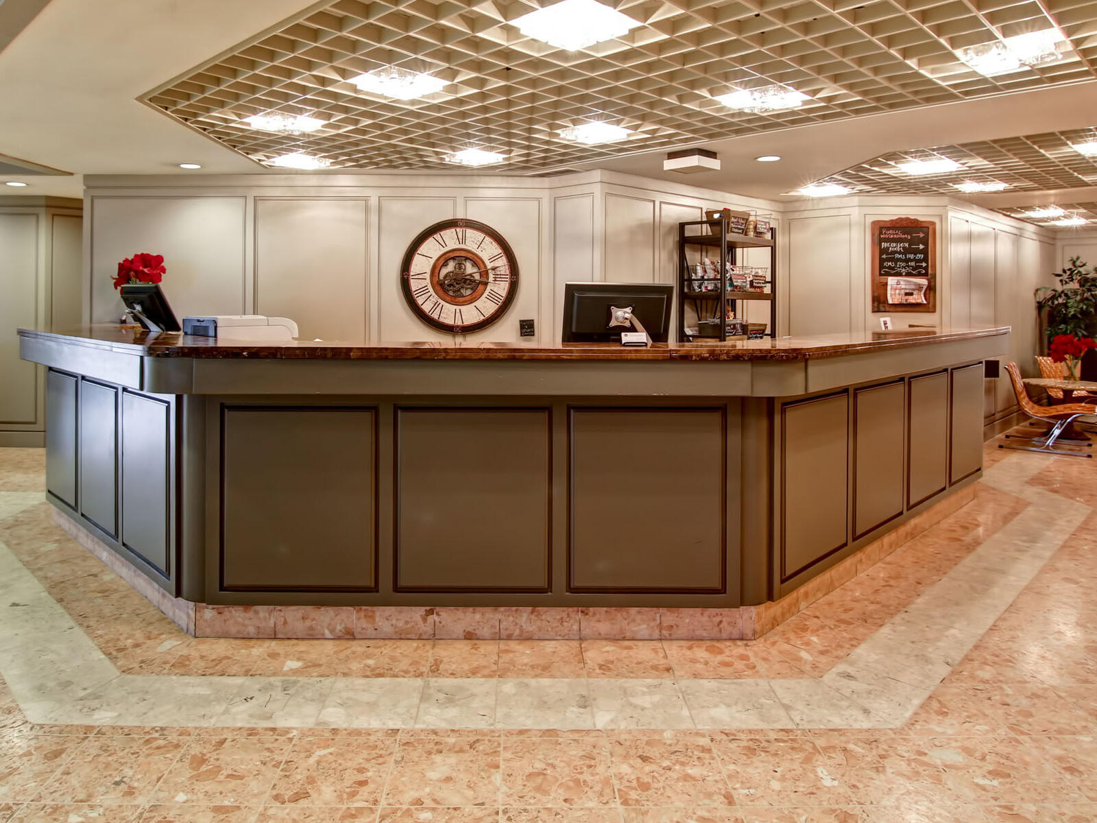 reception area with large desk at The Inn of Waterloo