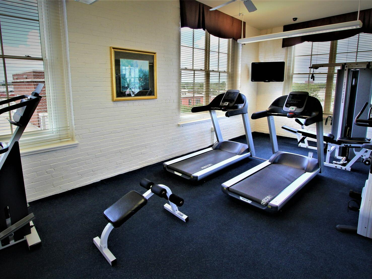 The fully equipped fitness center at Hotel at Old Town Wichita