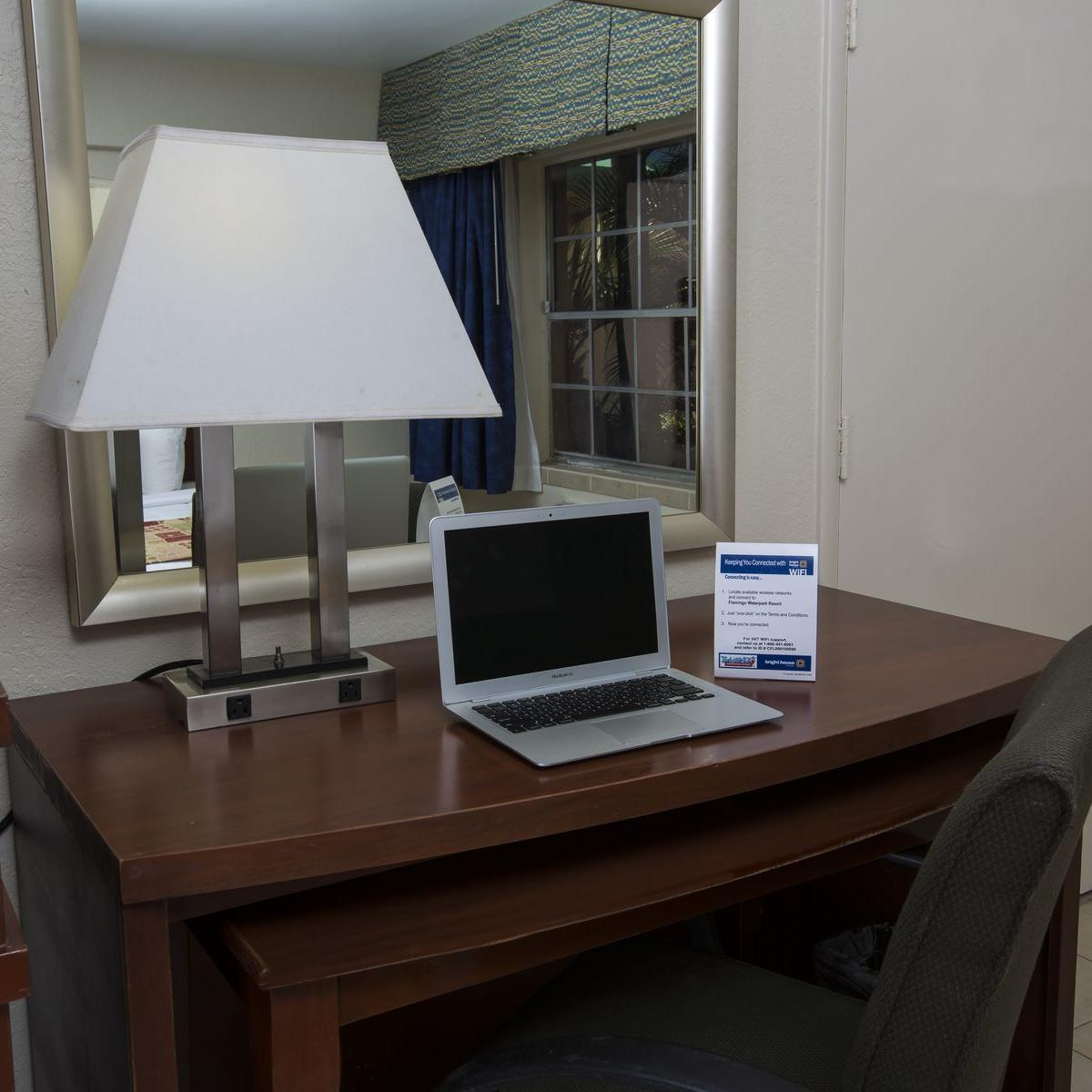 Room desk with WiFi Information Card