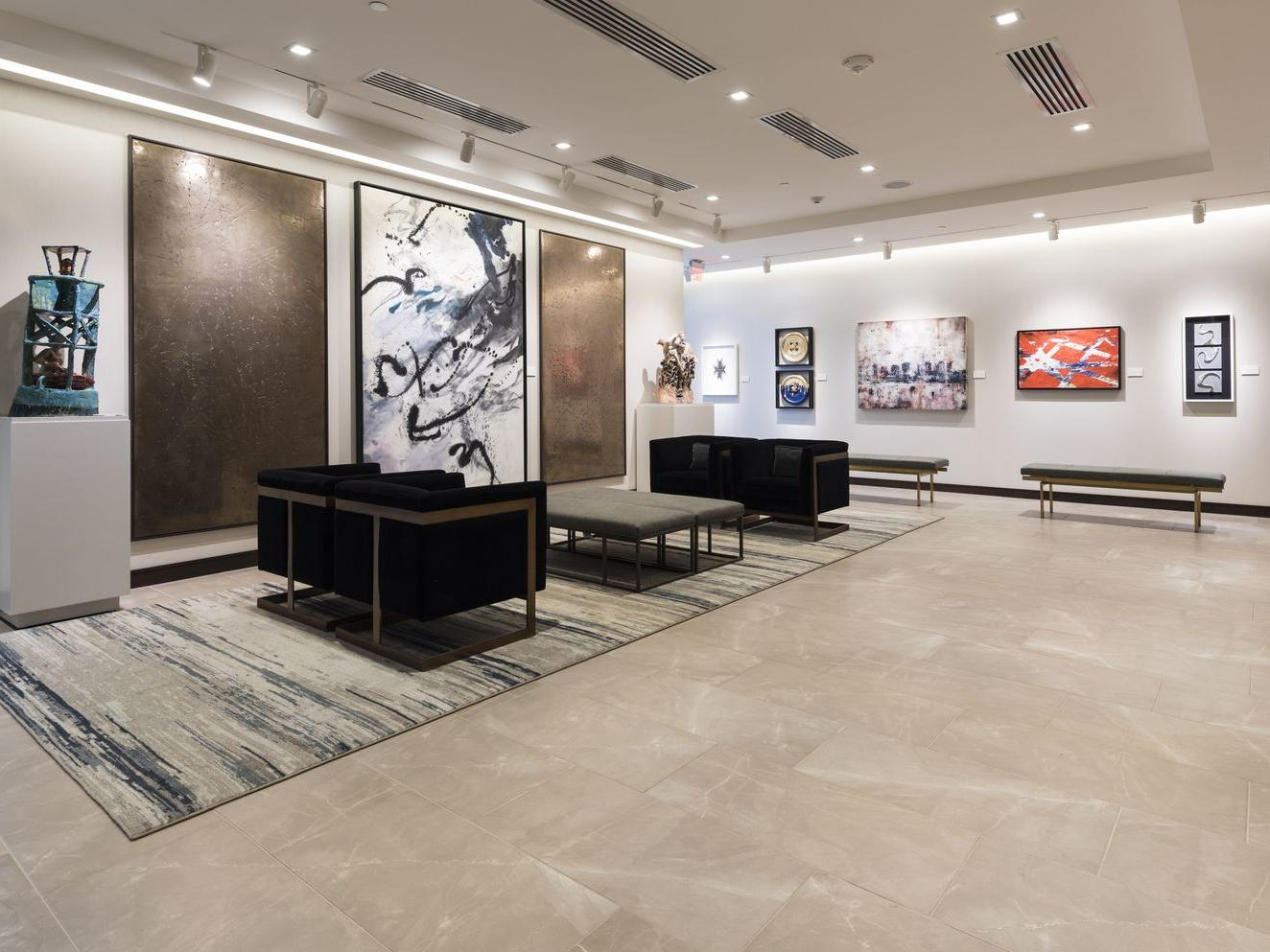 Seating area in art gallery