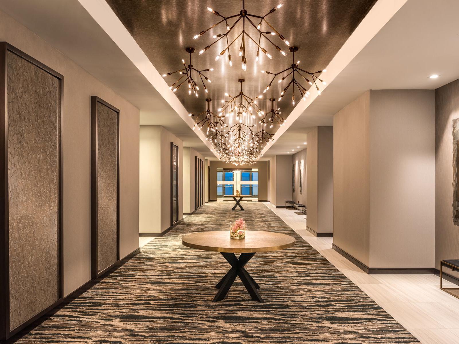 Atrium with decorative light fixtures