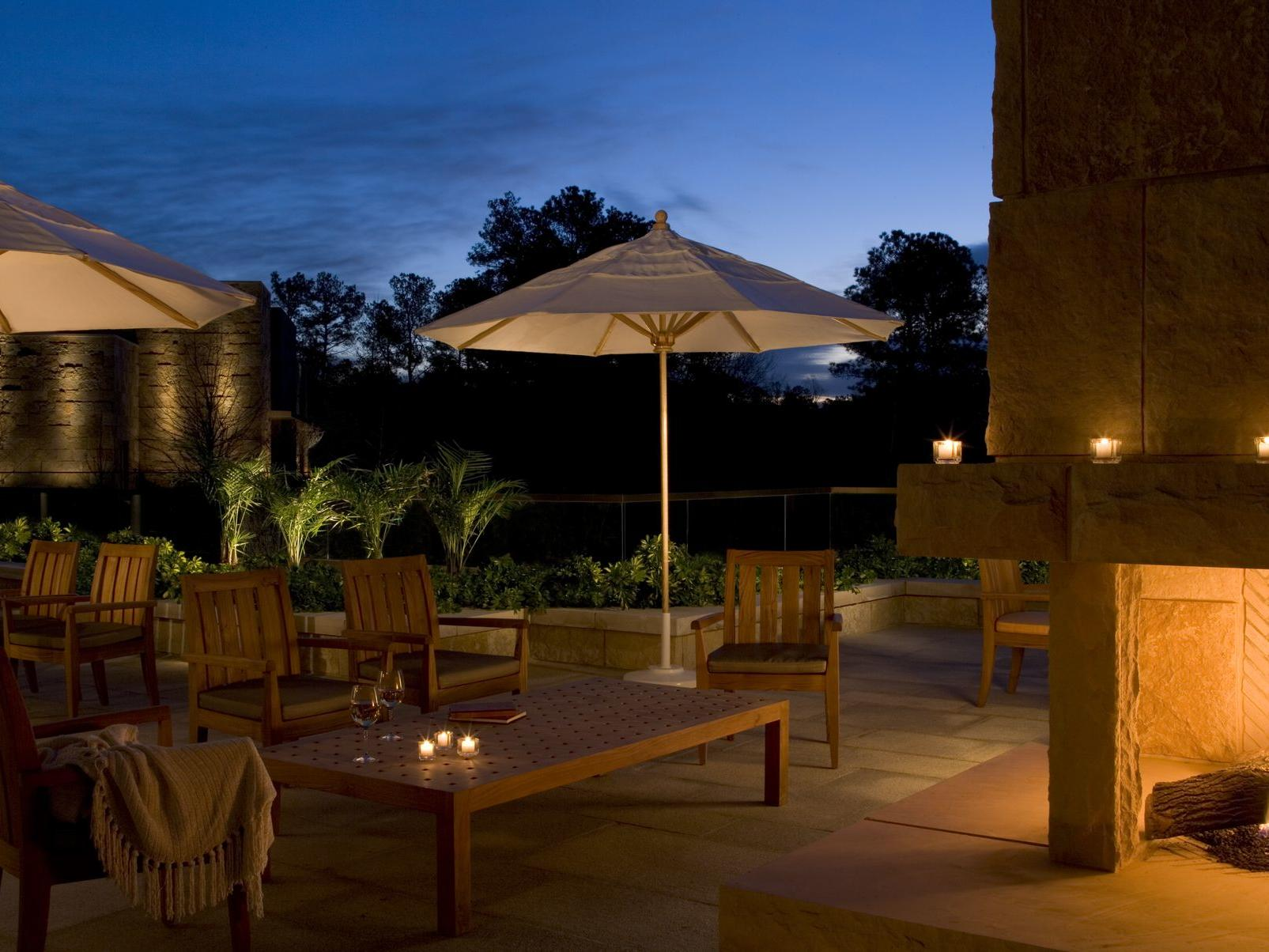 outdoor terrace of hotel