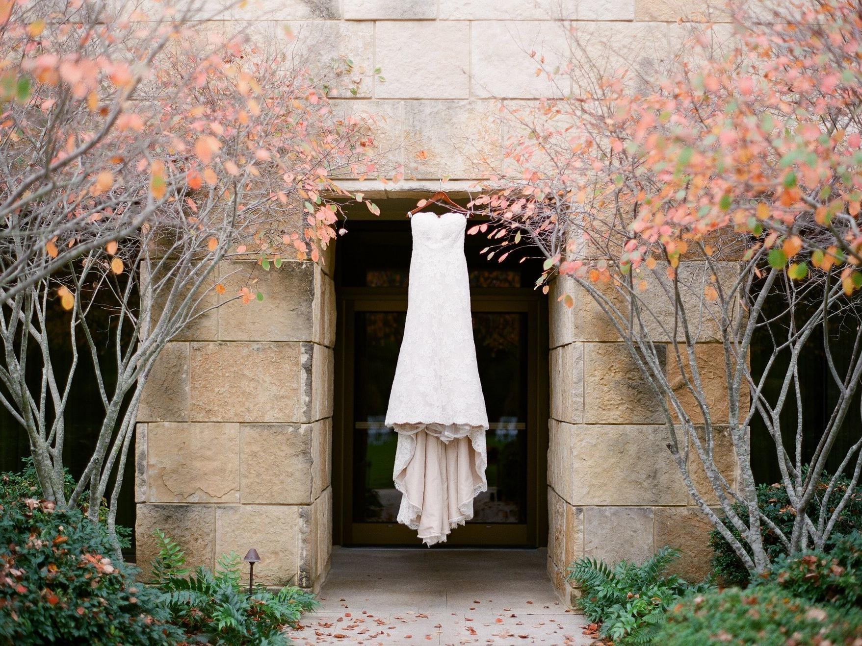 Hanging Wedding Dress outdoors - Almond Leaf Studio