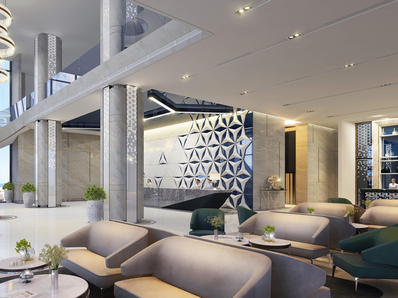 contemporary hotel lobby lounge area