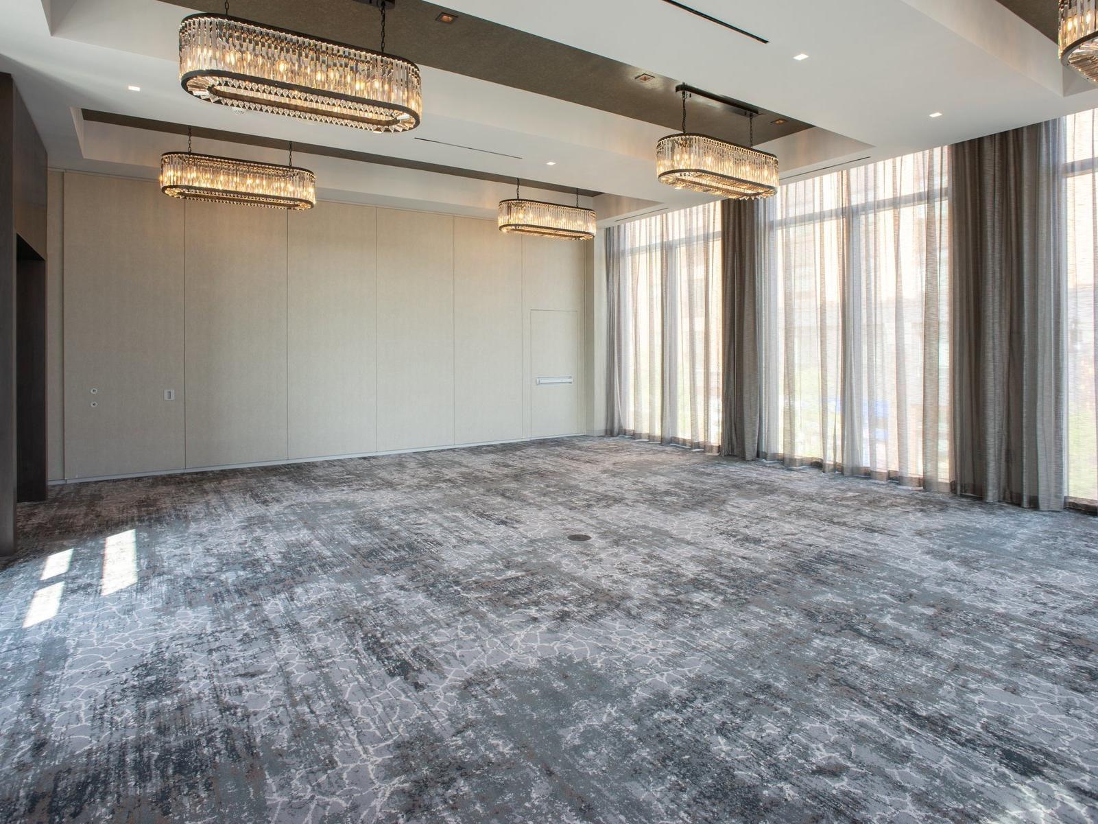 Empty meeting space with decorative lighting