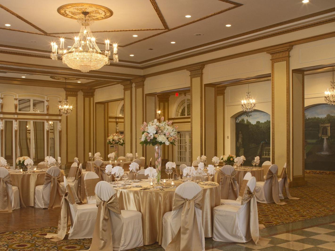 Venetian Ballroom Set For Wedding Reception