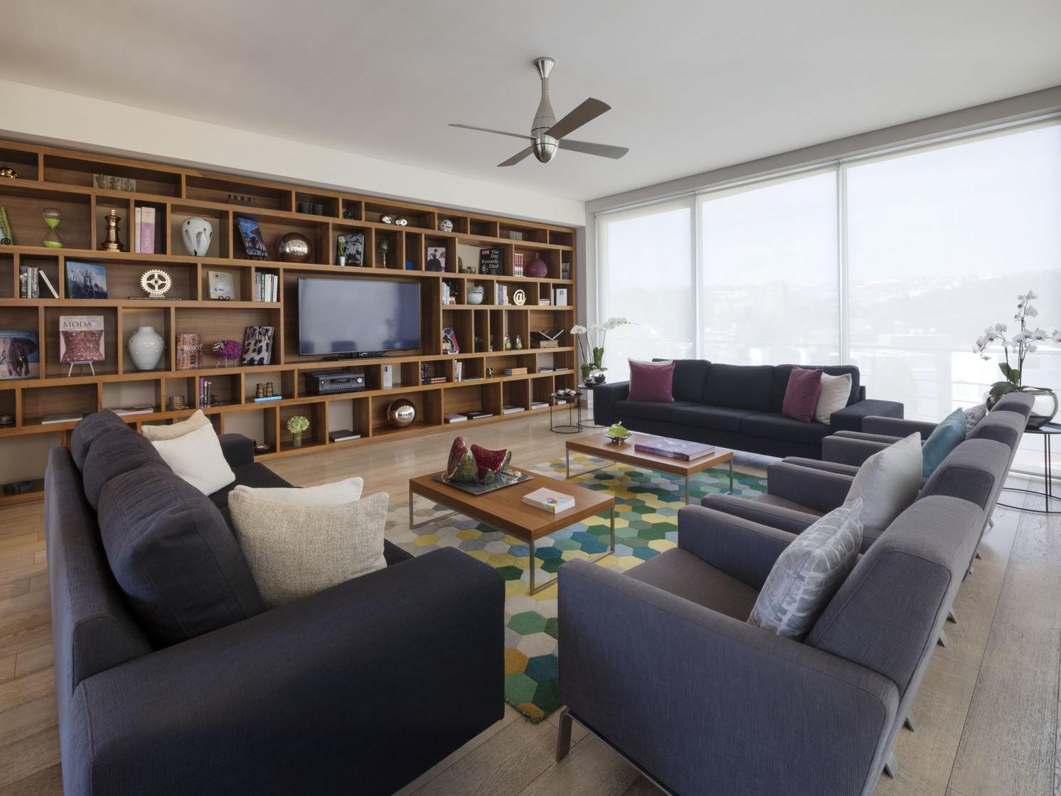 library with comfy sofas and book shelf