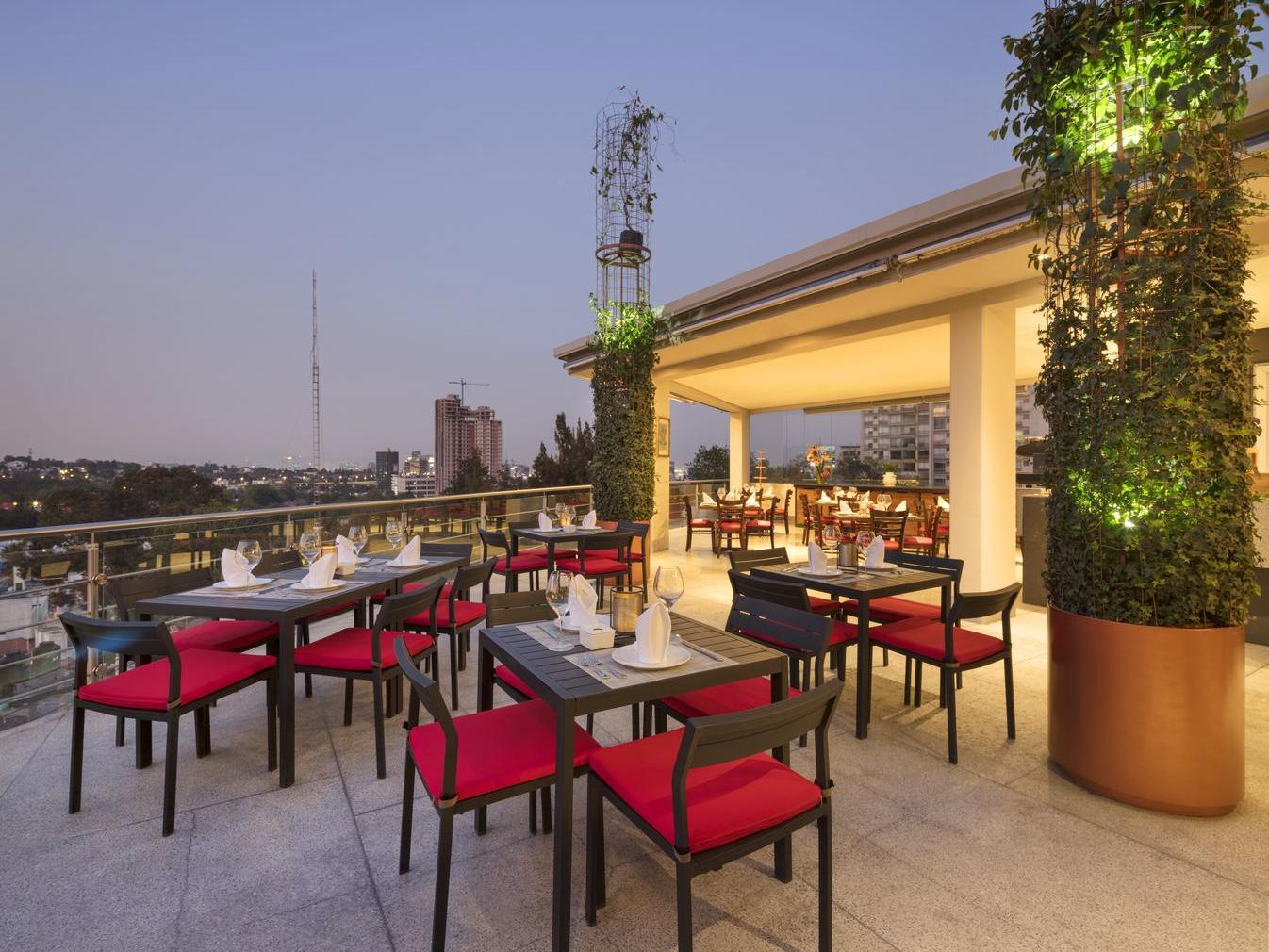 outdoor restaurant area with high top tables