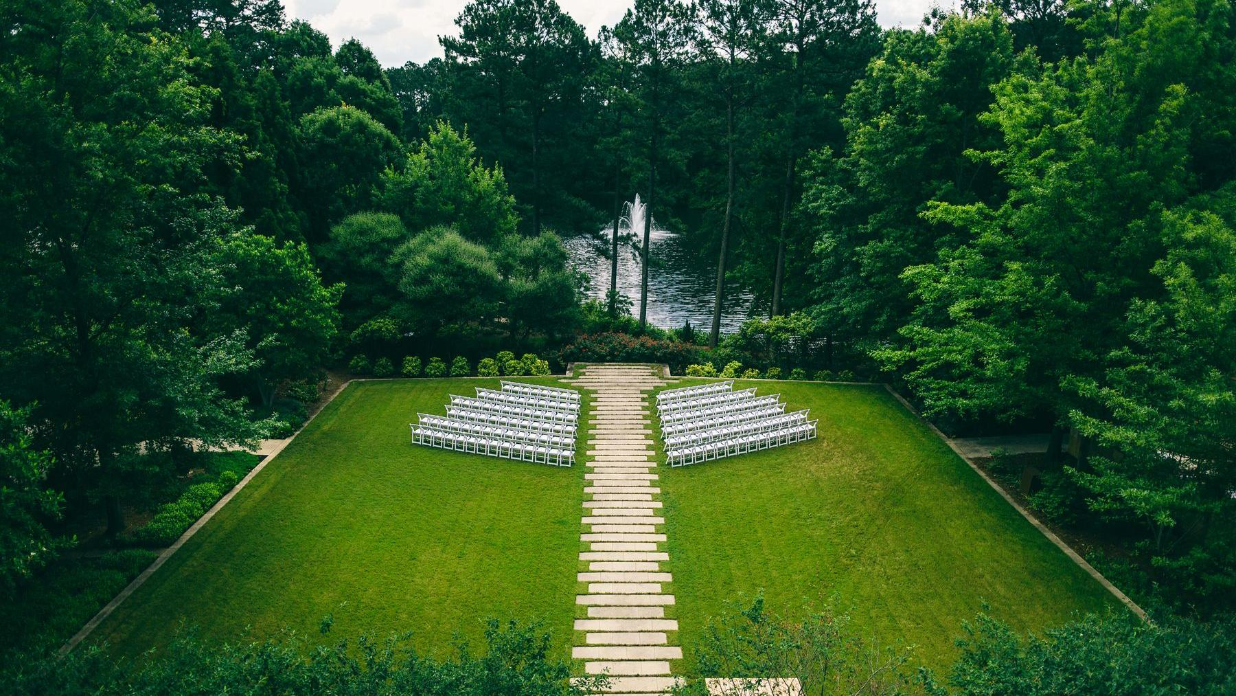 green lawn with wedding set up