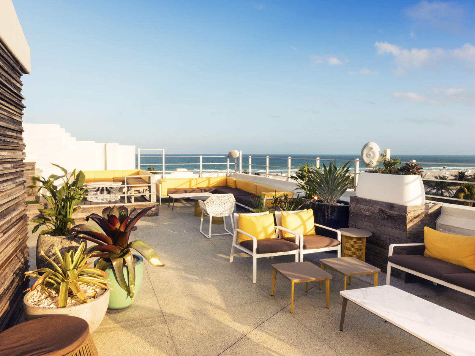 rooftop lounge with beach view