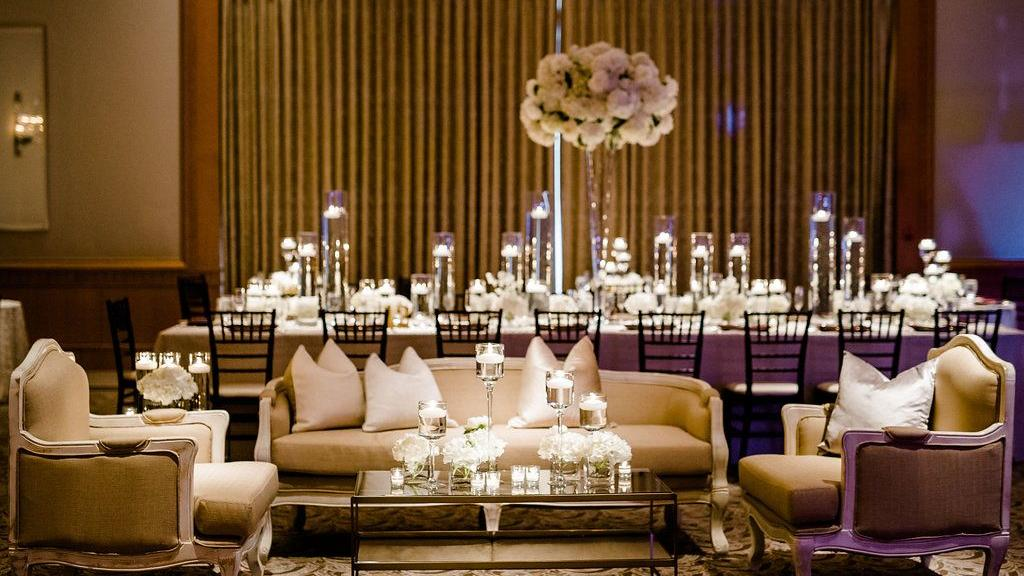 ballroom with couches and lights