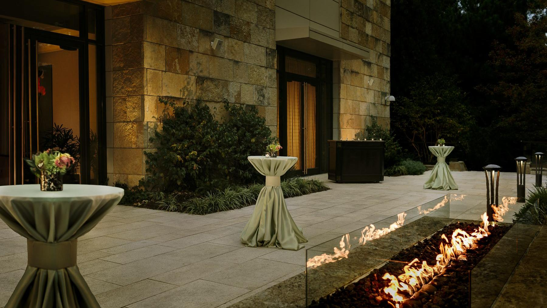 outside terrace with fire decor