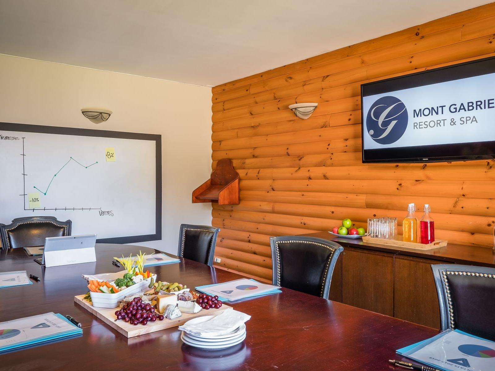Conference room with wall mounted TV