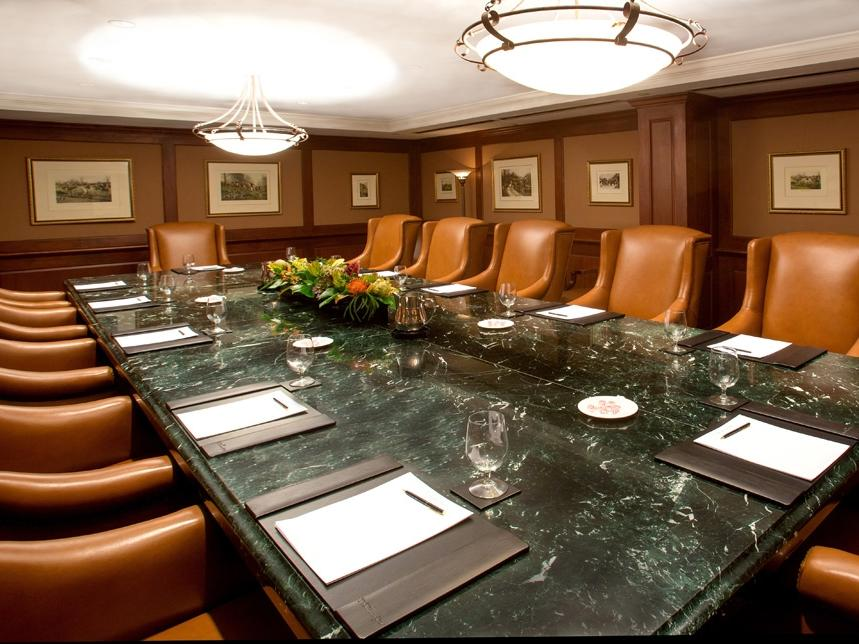 a large table in a meeting room