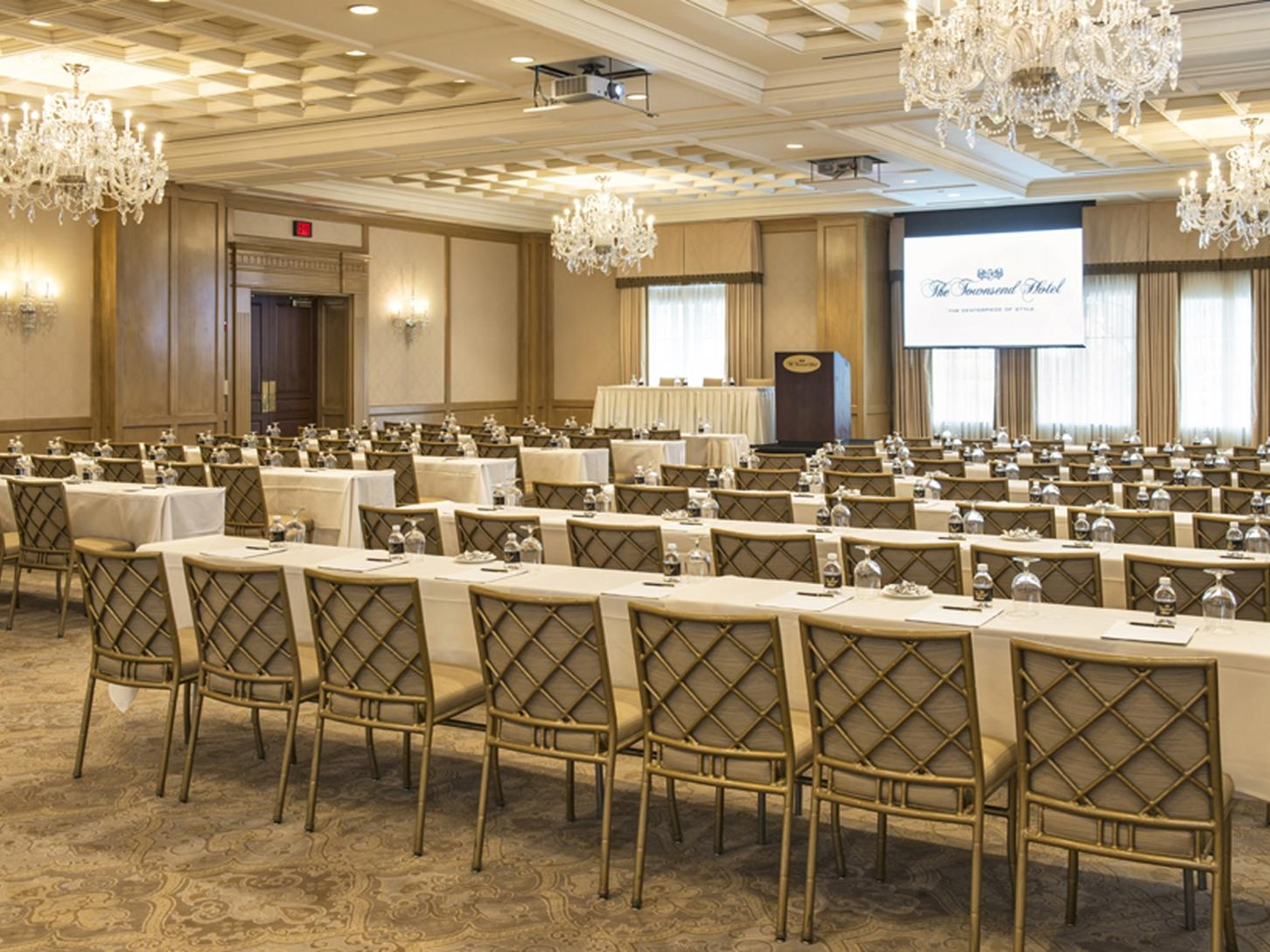 roms of tables and chairs in event room