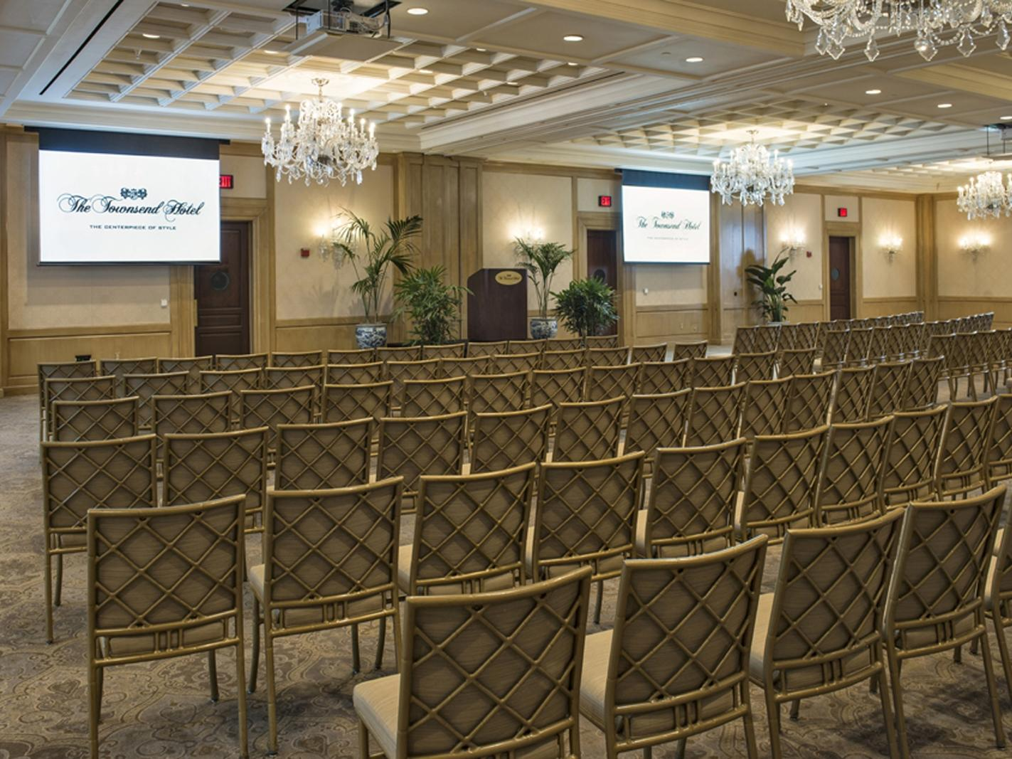 rows of chairs in a hotel event room