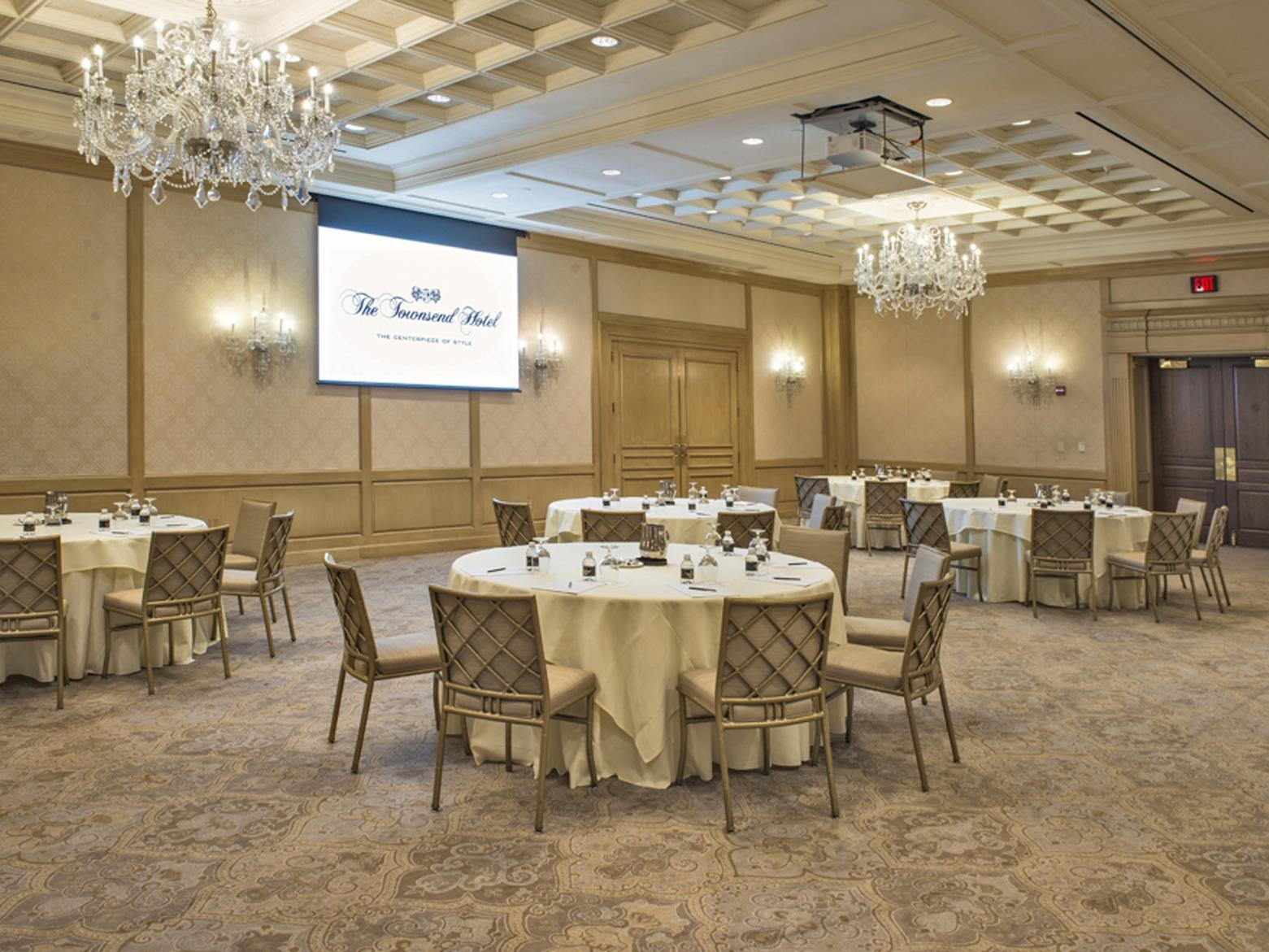 multiple tables in a spacious ballroom