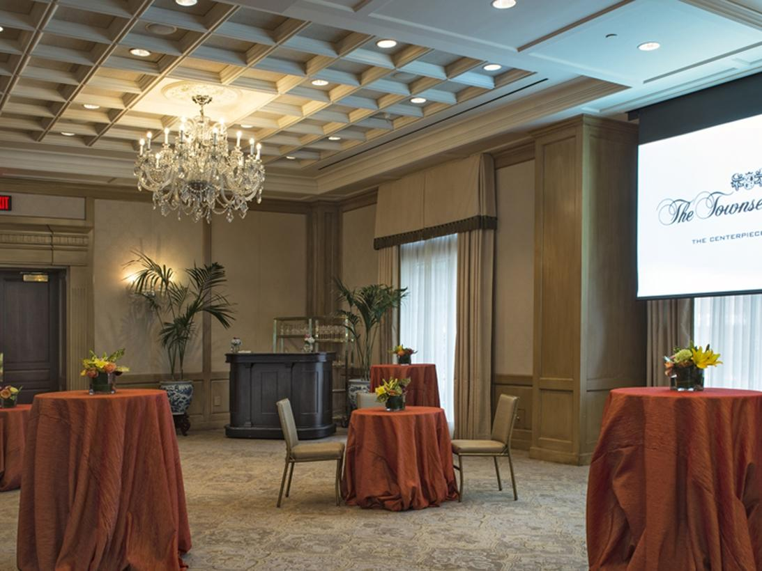 tables and chairs in spacious ballroom