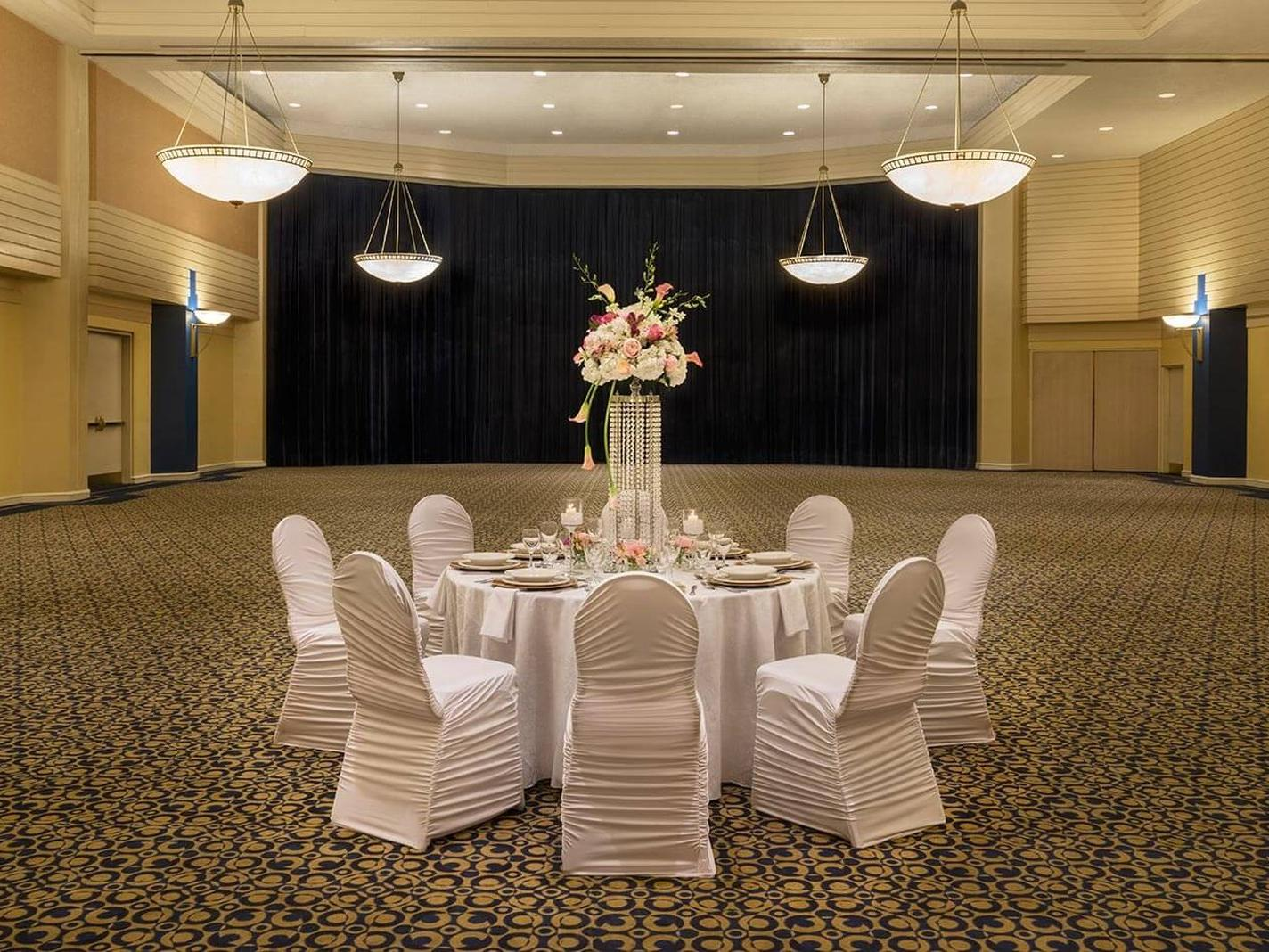 Spacious ballroom at hotel