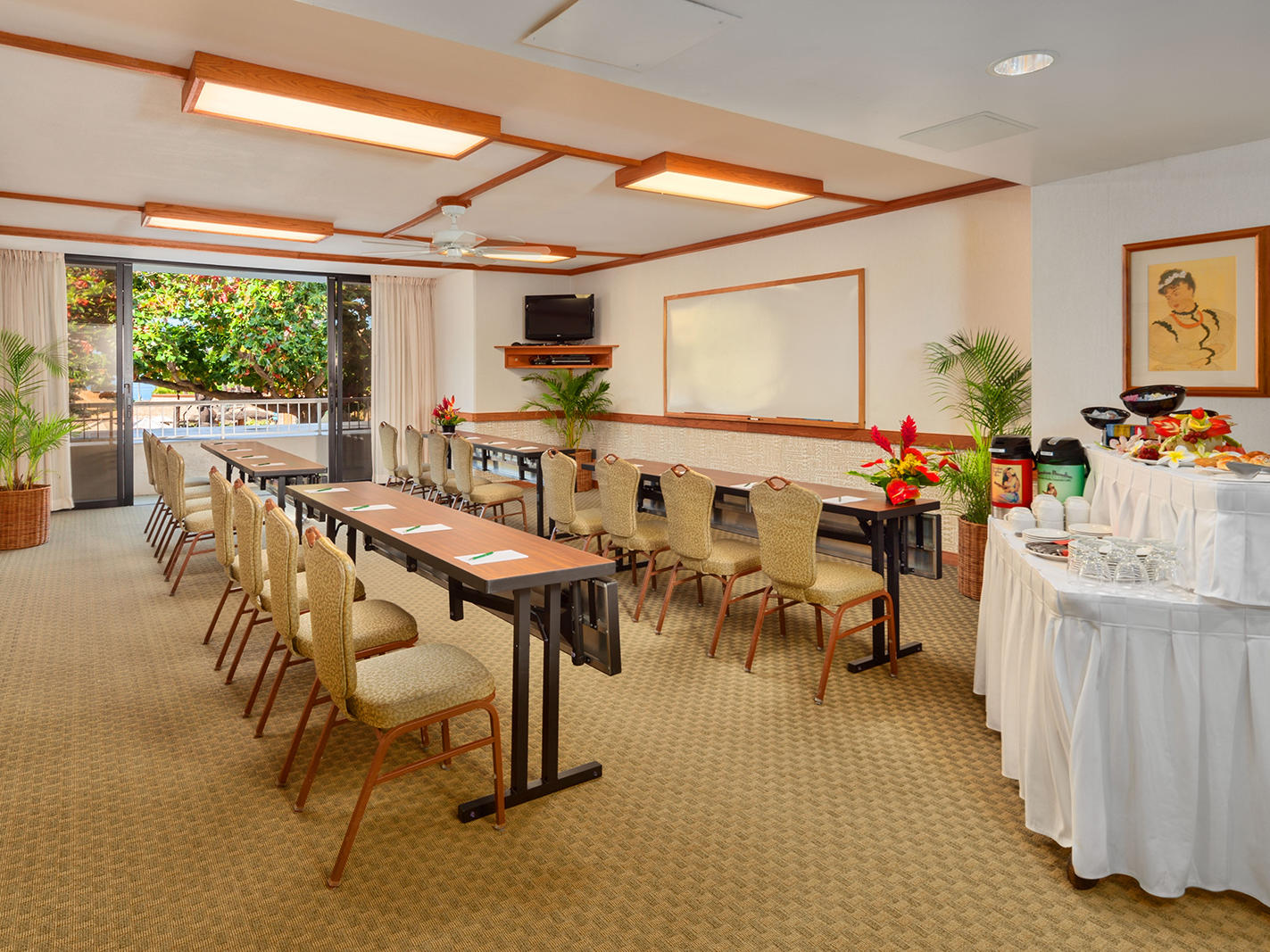 meeting room with chairs and catering setup
